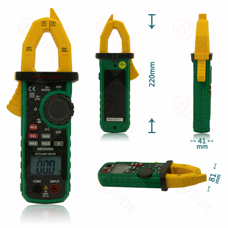 ФОТО MASTECH MS2009A Digital Clamp Meter with Non-contact Voltage Detector  600A