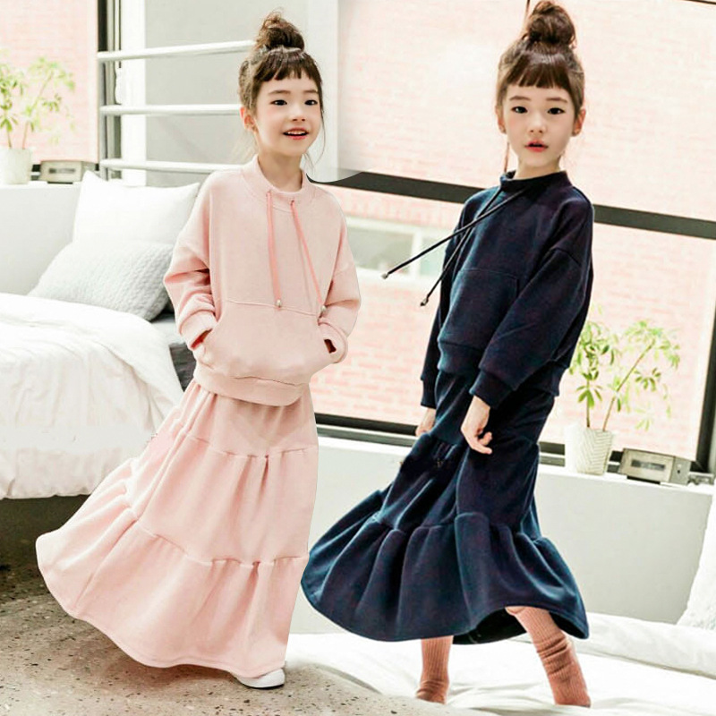 MAGGIE'S WALKER Children Clothing Sets Kid Girls Autumn Pure Cashmere Sweater + Skirt 2Pcs Princess Suit Teenager Girls Outfits autumn winter girls children sets clothing long sleeve o neck pullover cartoon dog sweater short pant suit sets for cute girls