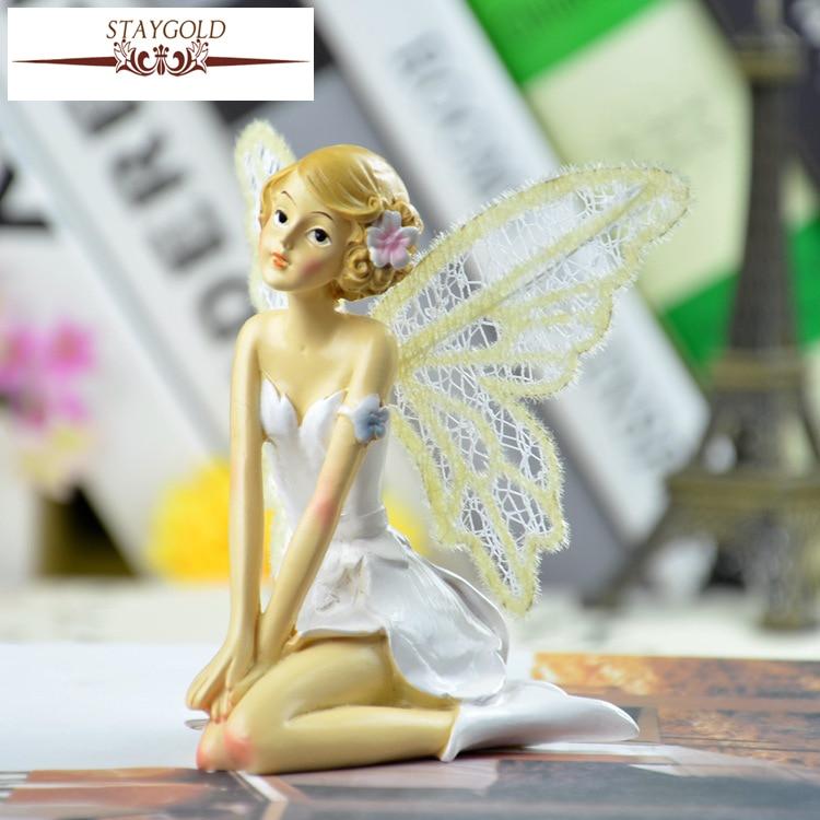 Beautiful Girl Kawaii Gifts Angel Garden Decoration Resin Crafts Home Decor Miniature Fairy Garden Figurines Flower Fairies