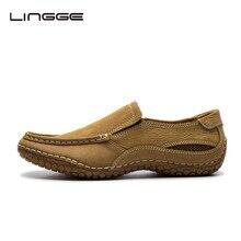LINGGE мужская Обувь Натуральный Телячья Кожа Бренда Мужская Кожаная Повседневная Обувь Лето Дышащая Скольжения На Бездельников Обувь #530-10