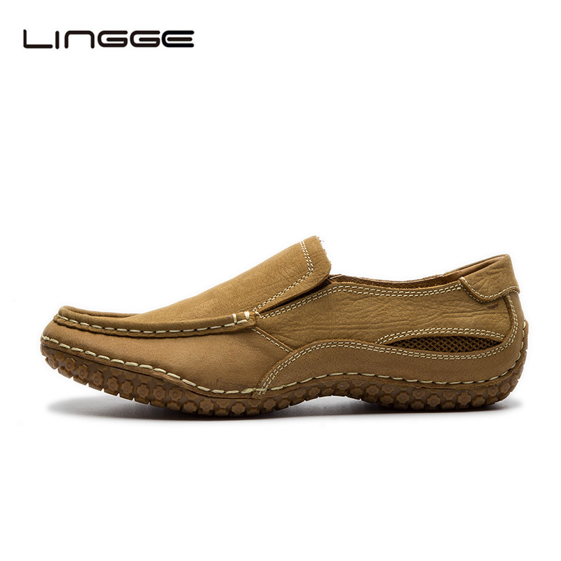 LINGGE Men's Shoes Natural Cow Leather Brand Men Leather Casual Shoes Winter Breathable Slip On Men's Loafers Shoes #530-10/11 branded men s penny loafes casual men s full grain leather emboss crocodile boat shoes slip on breathable moccasin driving shoes