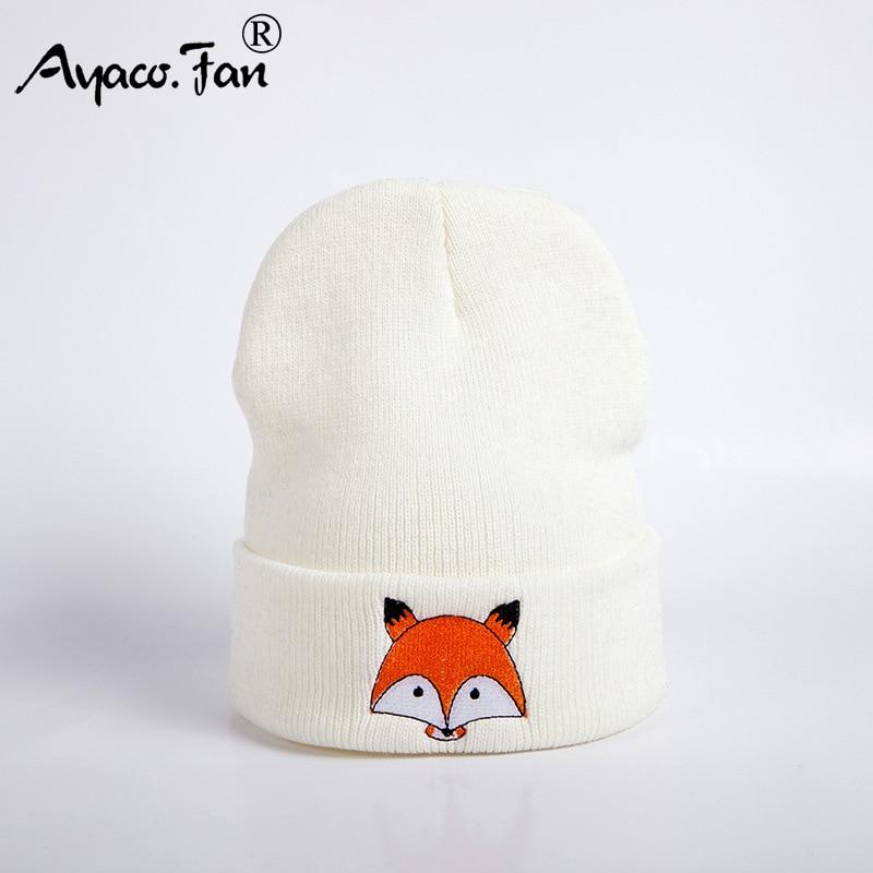 2019 New Knitted Winter Caps Women Men Soft Warm Beanie Knit Cap Crochet Elasticity Hats Skullies Female Ear Embroidery Fox Hat 3