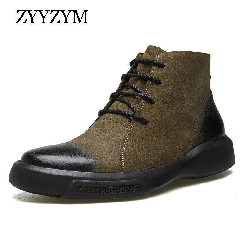 Ankle verde Moda Qualidade Preto Outono Zyyzym Caoutchouc Homens Genuínos De Couro Calçado Lace Boots Botas Up Retro Sapatos Alta 10Uxf