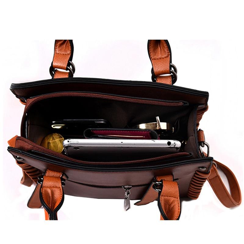 Women Handbags 2017 Luxuy Bag Designer Handbag High Quality Leather Shoulder Bag Strap Adjustable Female Vintage Weave 5