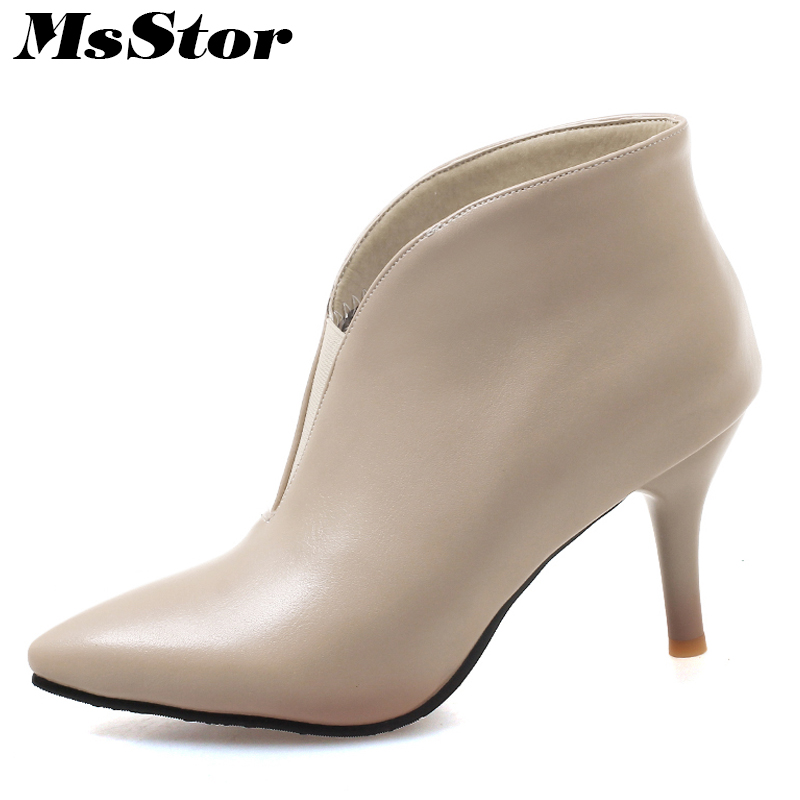 MsStor Plus Size Pointed Toe High Heel Boots Shoes Woman Thin Heels Cheap Ankle Boots Women Shoes Black Brown Green Women Boots