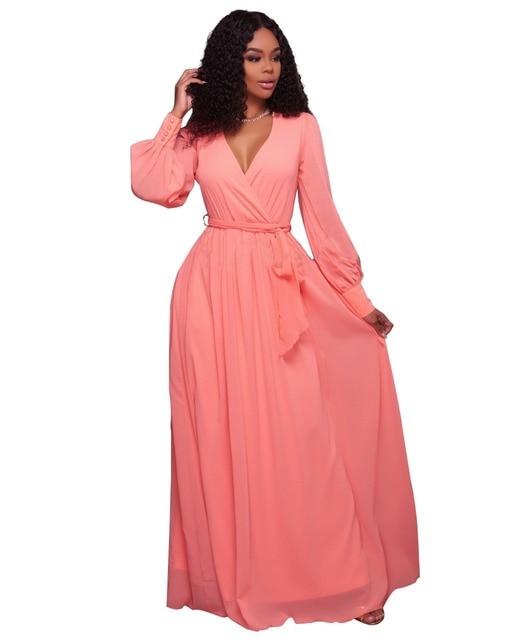 Aletterhin Long Sleeve Sashes Maxi Dresses Women Elegant Yellow Pink V Neck Ruffles A Line Loose Long Dress Vestidos De Fiesta