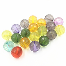 10Pcs Mixed Colourful Spacer Beads Transparent Round Faceted Acrylic Fashion Jewelry DIY Findings 18x18mm
