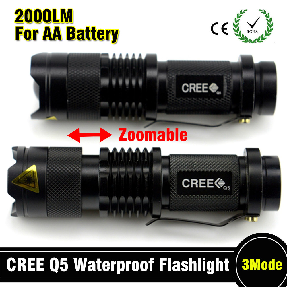 z50 Mini LED Torch 7W 2000LM CREE Q5 LED Flashlight Adjustable Focus Zoom flash Light Lamp free shipping 3Modes