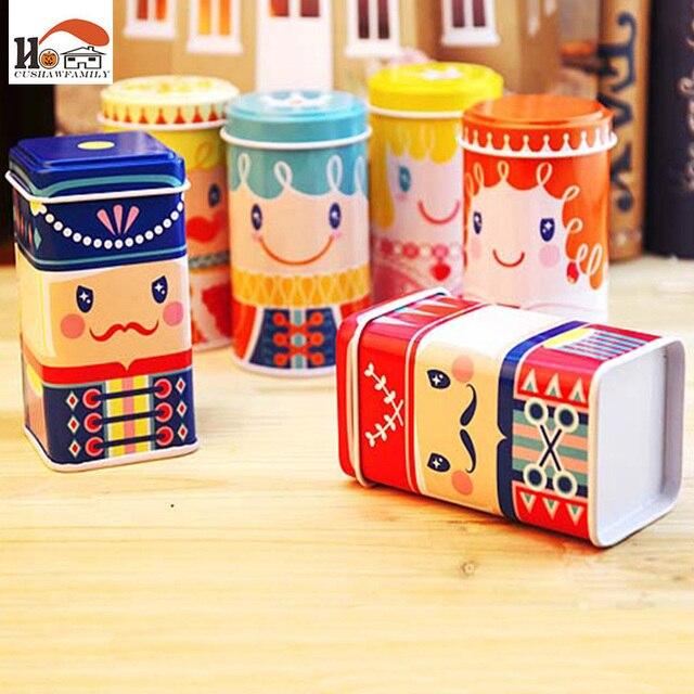CUSHAWFAMIL cute happy kingdom Tea caddy receive box candy storage box wedding favor tin box cable organizer container household