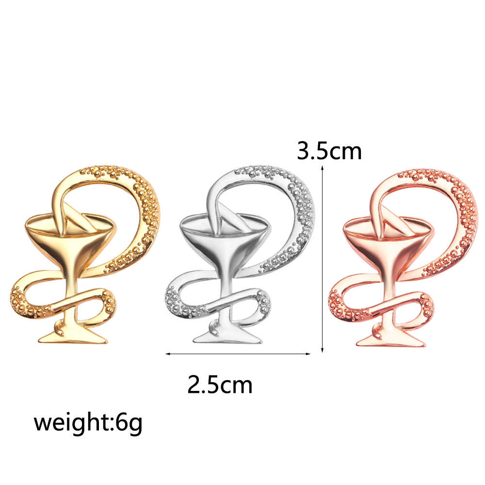 Fashion Mangkuk Hygieia Pin Lencana Emas Perak Rose Emas Bros Perhiasan Perawat Medis Dokter Simbol Pin Wanita Aksesoris Hadiah