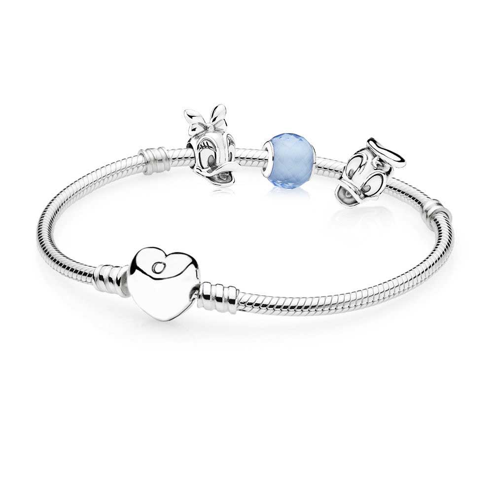 100% 925 Sterling Silver Donald and Daisy Bracelet Set Fit DIY Original Charm Bracelets Jewelry A Set of Prices Charm Bangle