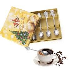 4 шт./компл./1 шт. коробка Нержавеющая сталь Рождественская посуда Кофе ложки мороженого десертная ложка снеговик дерево дети питьевой чайная ложка
