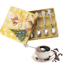 4pcs/set/1pc box Stainless Steel Christmas Tableware Coffee Spoons Ice Cream Dessert Spoon Snowman Tree Kids Drinking Tea Scoop(China)
