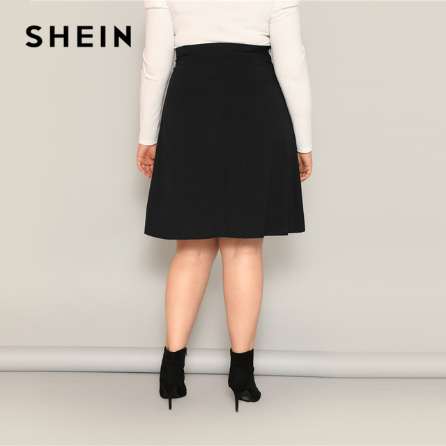 SHEIN Plus Size Black High Waist Tie Side Skirt 2019 Women Spring Knee Length Solid Casual A Line Big Size Skirts With Belt 2
