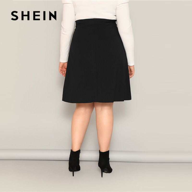 Image 3 - SHEIN Plus Size Black High Waist Tie Side Skirt 2019 Women Spring Knee Length Solid Casual A Line Big Size Skirts With Belt-in Skirts from Women's Clothing