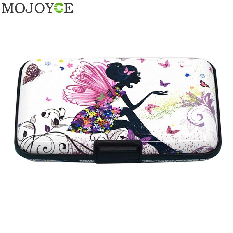 Wallet Women Protect Id-Cards Print Metal-Color Student Cute Carteira Fashion Box