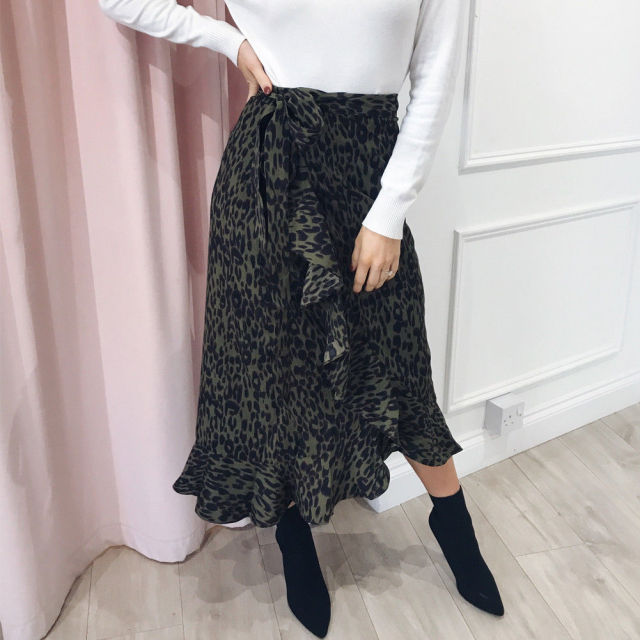 Fashion Women High Waist Ruffle Fishtail Chic Leopard Print Pencil Midi Skirts High Waist Bandage Mermaid Skirt Bodycon