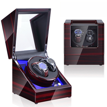 FALOK Luxury wooden watch winder box motor for watch winder automatic watch winding box LED lights luxury automatic watch winding box single holder silent motor storage box winder case for mechanical self wind clocks with plug