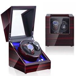 Time partner de luxe en bois montre remontoir boîte moteur pour montre remontoir automatique montre remontoir LED lumières