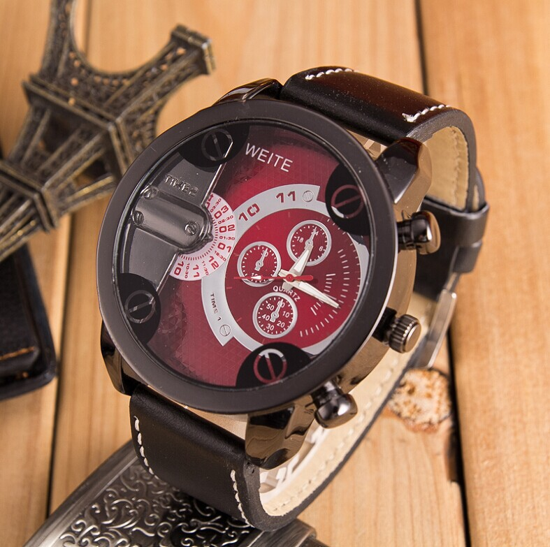 reloj hombre boutique large dial military sport men's leather watch fashion business men's quartz watch men 2018 Zegarki meskie fashion large dial casual creative leather quartz sport watch