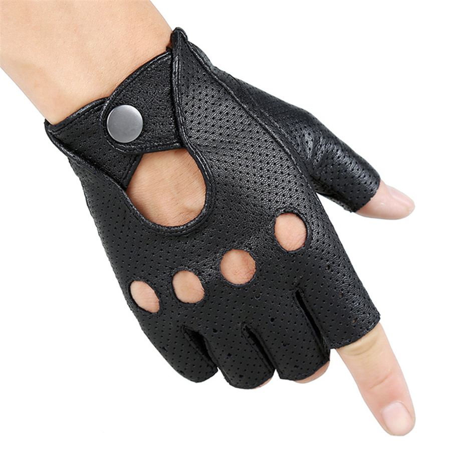 Breathable Hollow Men And Women Genuine Leather Gloves Wrist Half Finger Gloves Solid Neutral Adult Fingerless Y-10-5