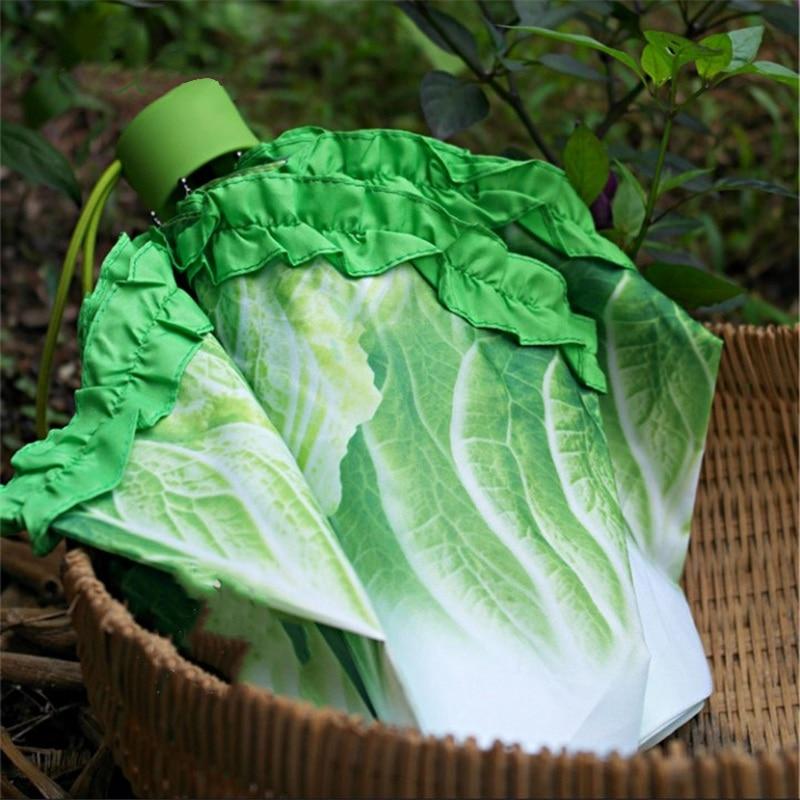 Creative Cabbage Umbrella Lettuce Folding Sunny and Rainy Anti-mite Beach Funny Vegetable Parasol