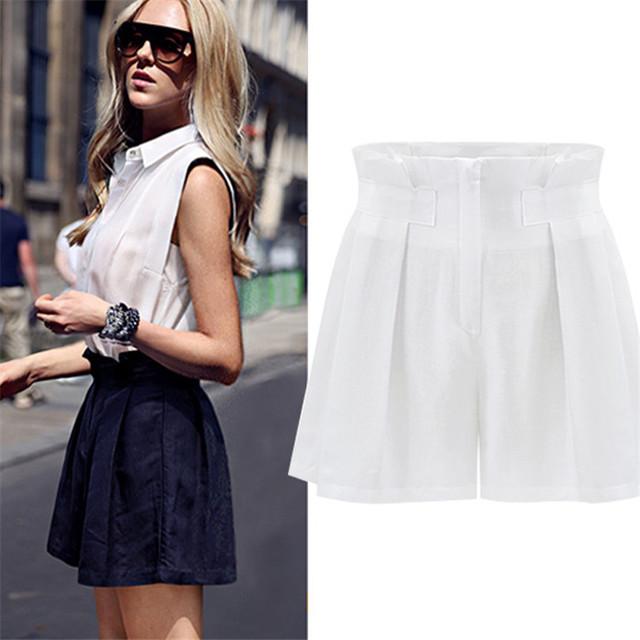 Calças calções Femininos de Verão de Cintura Alta Mulheres Calça Curta Solto Cintura fina Perna Larga Plus Size Ocasional Curto Azul Marinho/Branco S-XXL