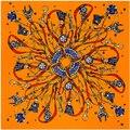 Саржа Шелковый Шарф Женщин Royal Канатные Кисточки Цепи Металлические Печати квадратные Шарфы 100*100 см Высокое Качество Подарок Мода Большой Шелковый шаль