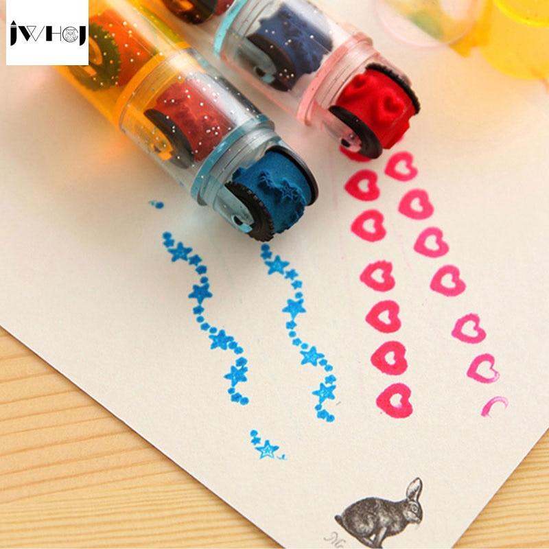3 Pcs/set Combination Pens Shape Stamps Sets, Cycle Roller Stamp Kids DIY Handmade Scrapbook Photo Album Students Stamps Arts