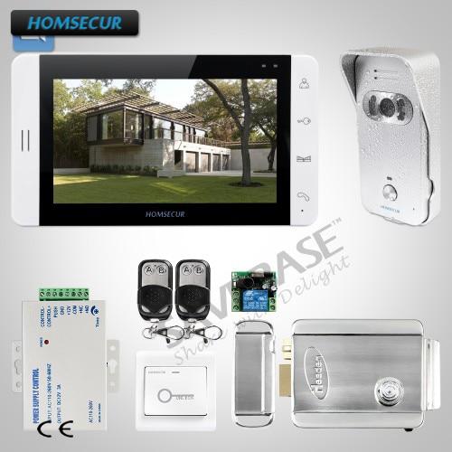 HOMSECUR 1C1M 7 дюймов видео и аудио дома, домофон с электрическим замком + ключи включены для дома/без каблука