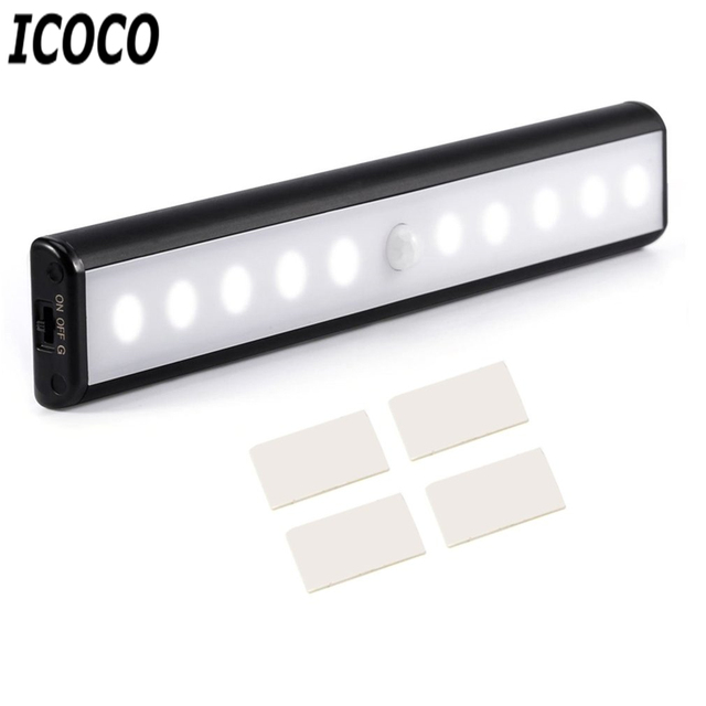 ICOCO High Quality Home Wireless Motion Sensor LED Light USB Rechargeable Magnetic Ultra Bright 10