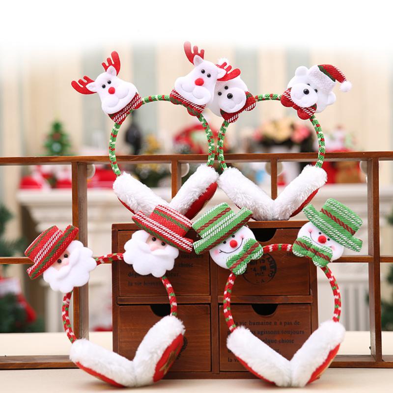 Winter Earmuffs Winter Christmas Decor Outdoor Use For Women Man Soft Warm Protect Ear Muffs Santa Claus Elk Snowman Bear Xmas