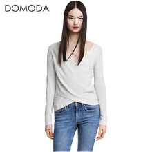 DOMODA Fashion Women Tops Sexy Slim V Neck Solid Color Wrap Casual Female Pullover Sweater Gray Long Sleeve Street T-shirt