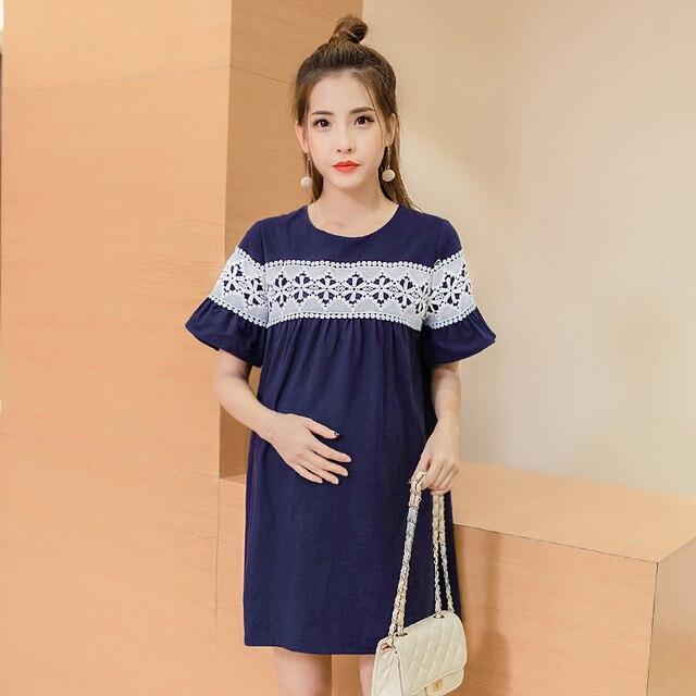 a59513f72 Pengpious las mujeres embarazadas de la primavera de 2019 verano vestido de  maternidad diseño suelto