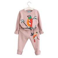 2017 Girls Clothing Sets Long Sleeve Spring Autumn Girls Set Bird Print Sweater Set Kids Active
