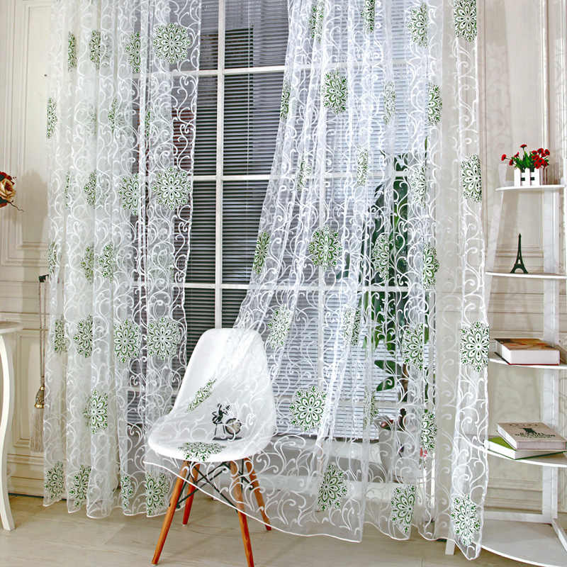 2016 Elegant Green Vintage Hydrangea Tulle Voile Door Window Curtain Hydrangae Flower Pattern Curtains For Living Room Curtains For Double Windows Curtain Finalcurtains India Aliexpress