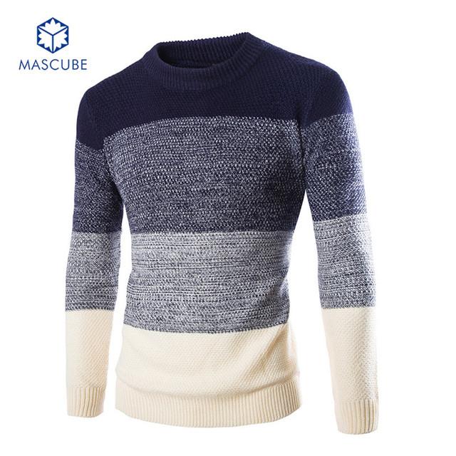 Degradado de Color Hombres Suéter hombre jersey Ropa de Lana Vestido de Invierno Gruesa Camisa de Rayas Pullover Hombres Suéter de Acrílico