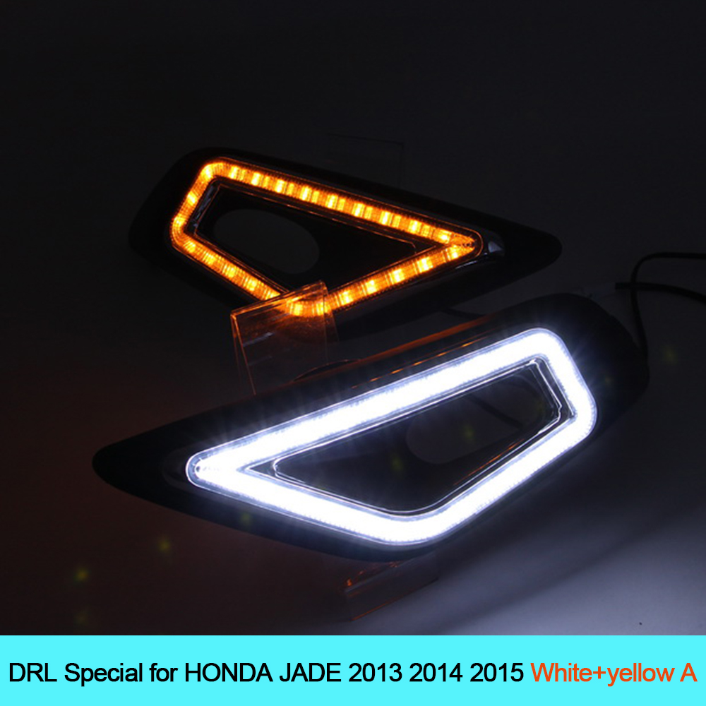 NEW Car DRL kit for HONDA JADE 2013 2014 2015 LED Daytime Running Light BAR turn signal fog auto lamp daylight car led drl 12v new car drl kit for toyota vios 2014 2015 led daytime running light bar turn signal fog auto lamp bulb daylight for car led drl