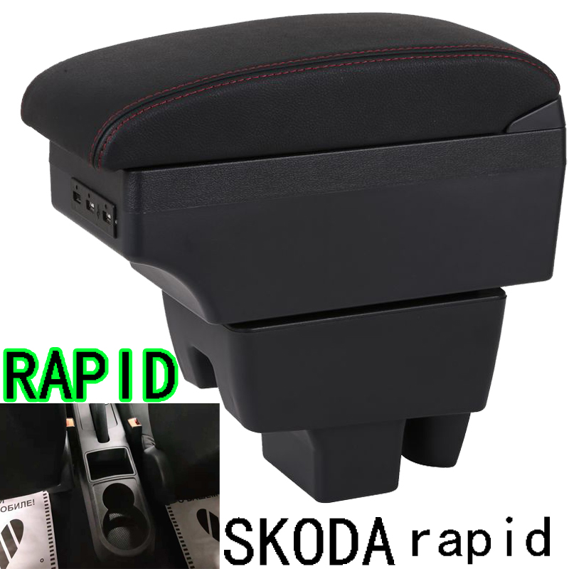 For Skoda Rapid Armrest Box Skoda Rapid 1 Universal Car Central Armrest Storage Box modification accessories