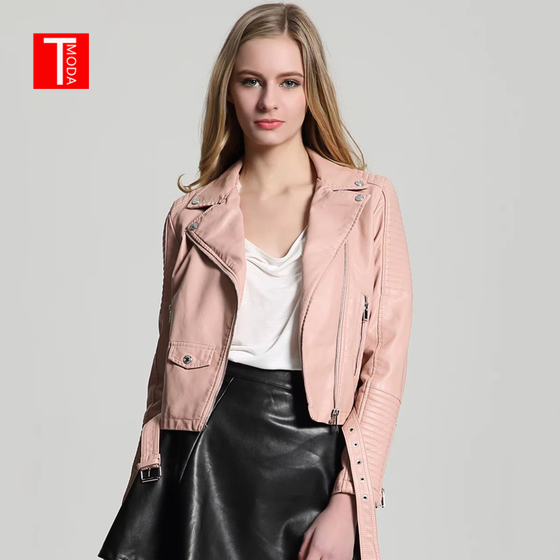 2018 New Autumn Witner Women Motorcycle Faux PU   Leather   Pink Jackets Lady Biker Outerwear Coat With Velvet inside