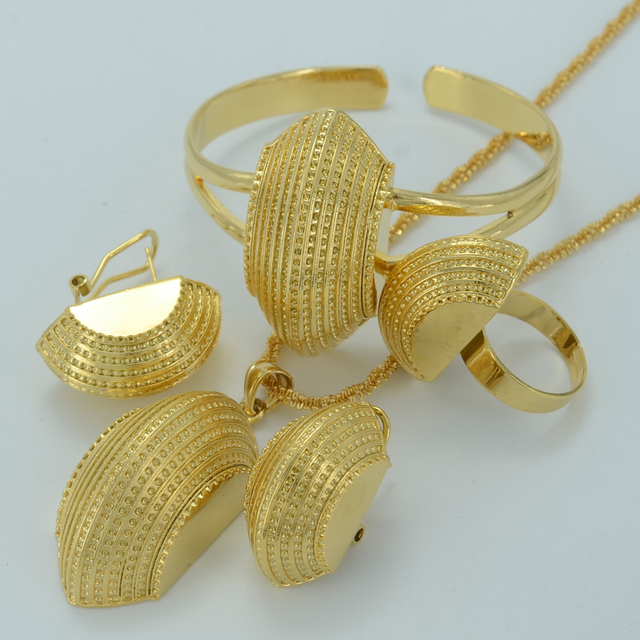 Ethiopian New Jewelry sets  Real Gold Plated Eritrean Engagement/Bride Wedding Habesha Luxury Jewelry Africa/Sudan #002501