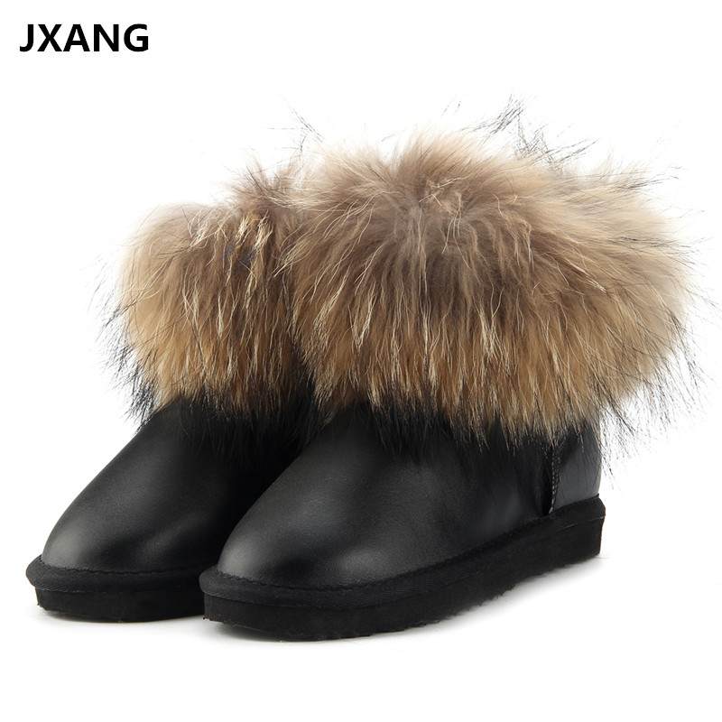 JXANG Fashion Thick Natural Fox fur UG Snow Boots Women Boots 100% Real Leather Waterproof Winter Warm Snow Boots Ankle Boots