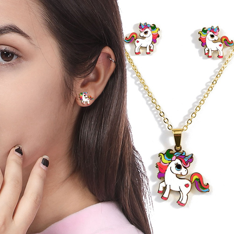 2019-Cartoon-Cute-Pink-Horse-Unicorn-Design-Enamel-Gold-Color-Necklaces-earring-Fashion-Jewelry-Set-Kids