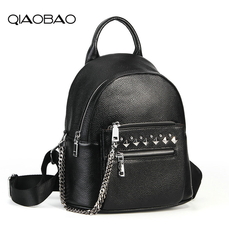 QIAOBAO Black Fashion Women Backpack 100% Real Cow Genuine Leather Schoolbag For Girl Female Travel Bag Chain Large KnapsackQIAOBAO Black Fashion Women Backpack 100% Real Cow Genuine Leather Schoolbag For Girl Female Travel Bag Chain Large Knapsack