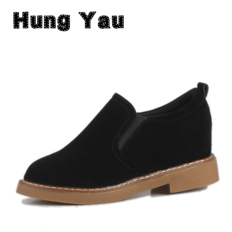 Women Shoes Leather Casual Shoes Platform Woman Walking Spring Fashion Slip-On Low Heeled Comfortable High Quality Skid Size 8 цена 2017