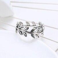 Die Olivenzweig Stil Ringe Echt 925 Sterling Silber Ring Größe 6/7/8 PDRSVR156 Großhandel Frauen Schmuck