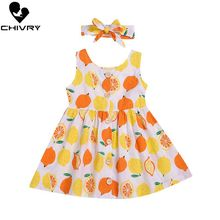 Little Girls Summer Dress Kids Baby Girls Floral Fruit Sleeveless O-neck Button A-line Sundress with Headband Princess Dress цена 2017
