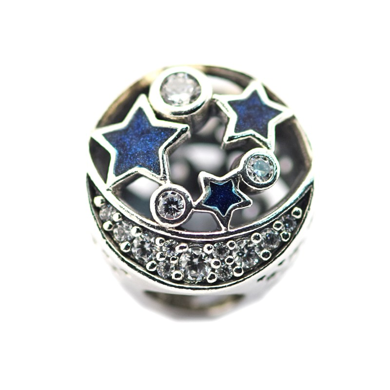 FL471 Beads Fits Pandora Charms Bracelets Vintage Night Sky Shimmering Midnight Blue Enamel&Clear CZ Charm Beads For Jewelry Making  (2)