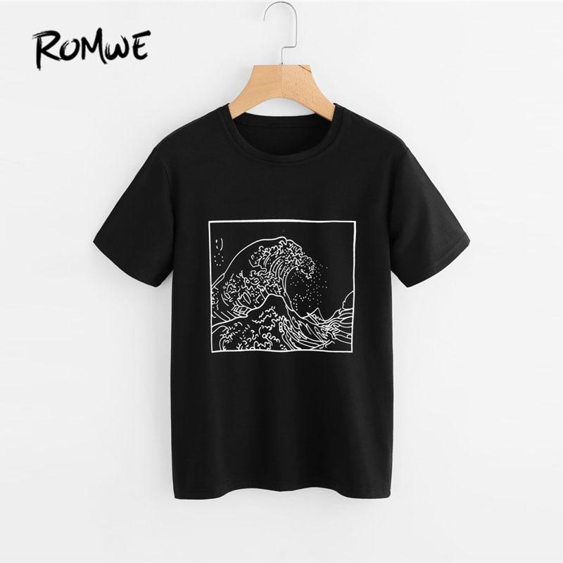 ROMWE Graphic Print Loose T Shirt Women Black Round Neck Short Sleeve Korean Summer Tops 2018 Fashion Ulzzang Tee Shirt