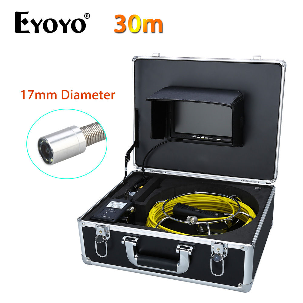 Eyoyo 30M 7 LCD 17mm Wall Drain Sewer Pipe Line Camera System CCTV CMOS Cam 1000TVL Snake Inspection Color HD 6PCS White LEDS eyoyo wp90a9 9 lcd 30m 17mm 12pcs white led sewer pipe pipeline camera drain inspection cam with free 8gb card support av output